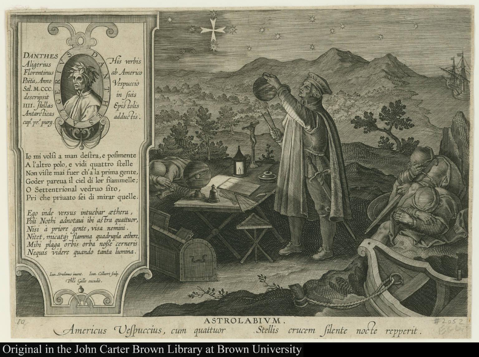 Astrolabium. Americus Vespuccius, cum quattuor Stellis crucem silente nocte repperit.