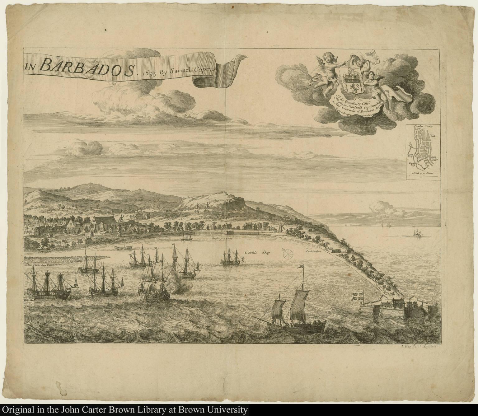 [A Prospect of Bridge Town] in Barbados. 1695 By Samuel Copen.