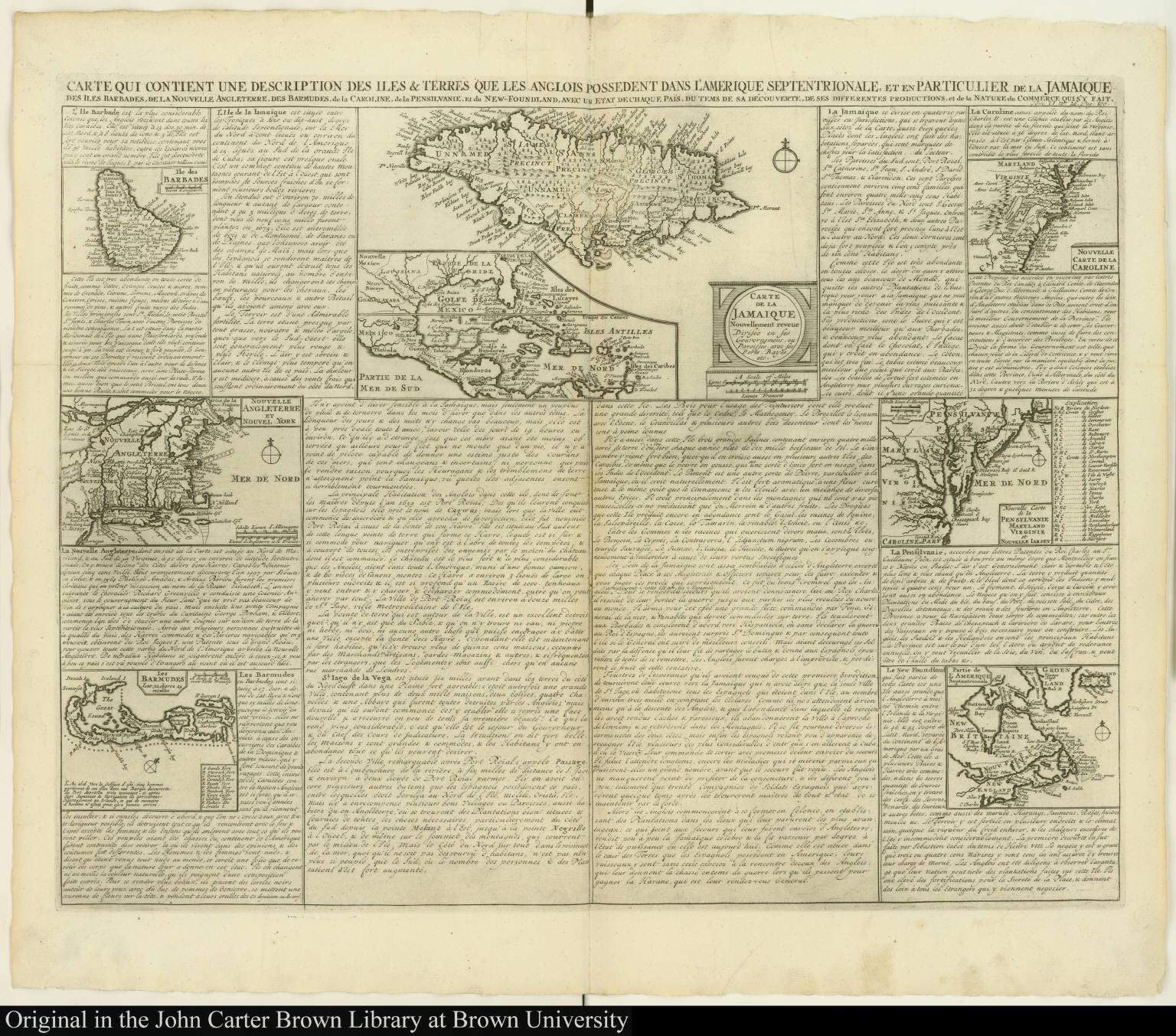 Carte qui contient une description des iles & terres que les anglois possedent dans l'Amerique septentrionale, et en particulier de la Jamaique ...
