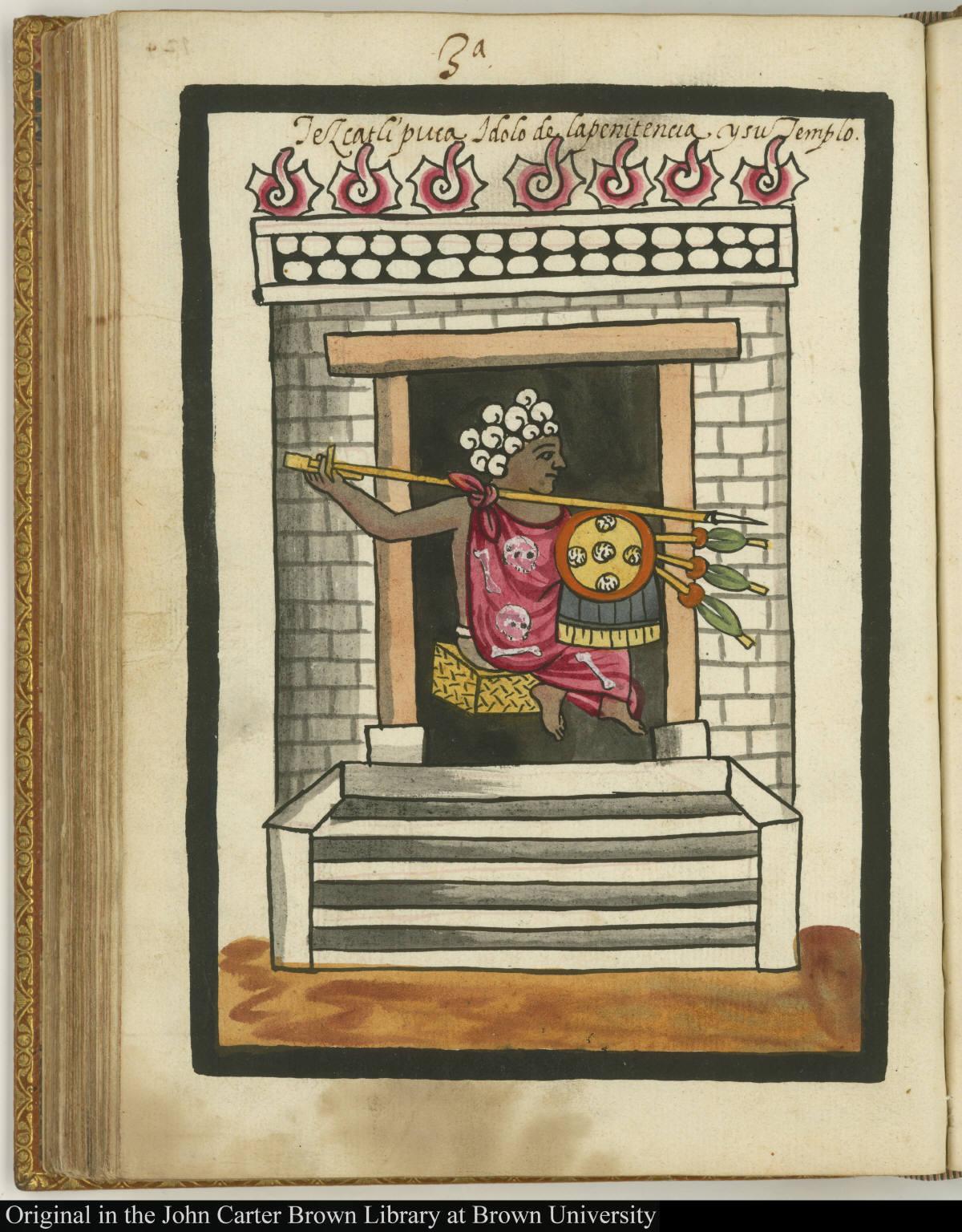 3a Tezxatlipuca ydolo de la penitencia y su templo.