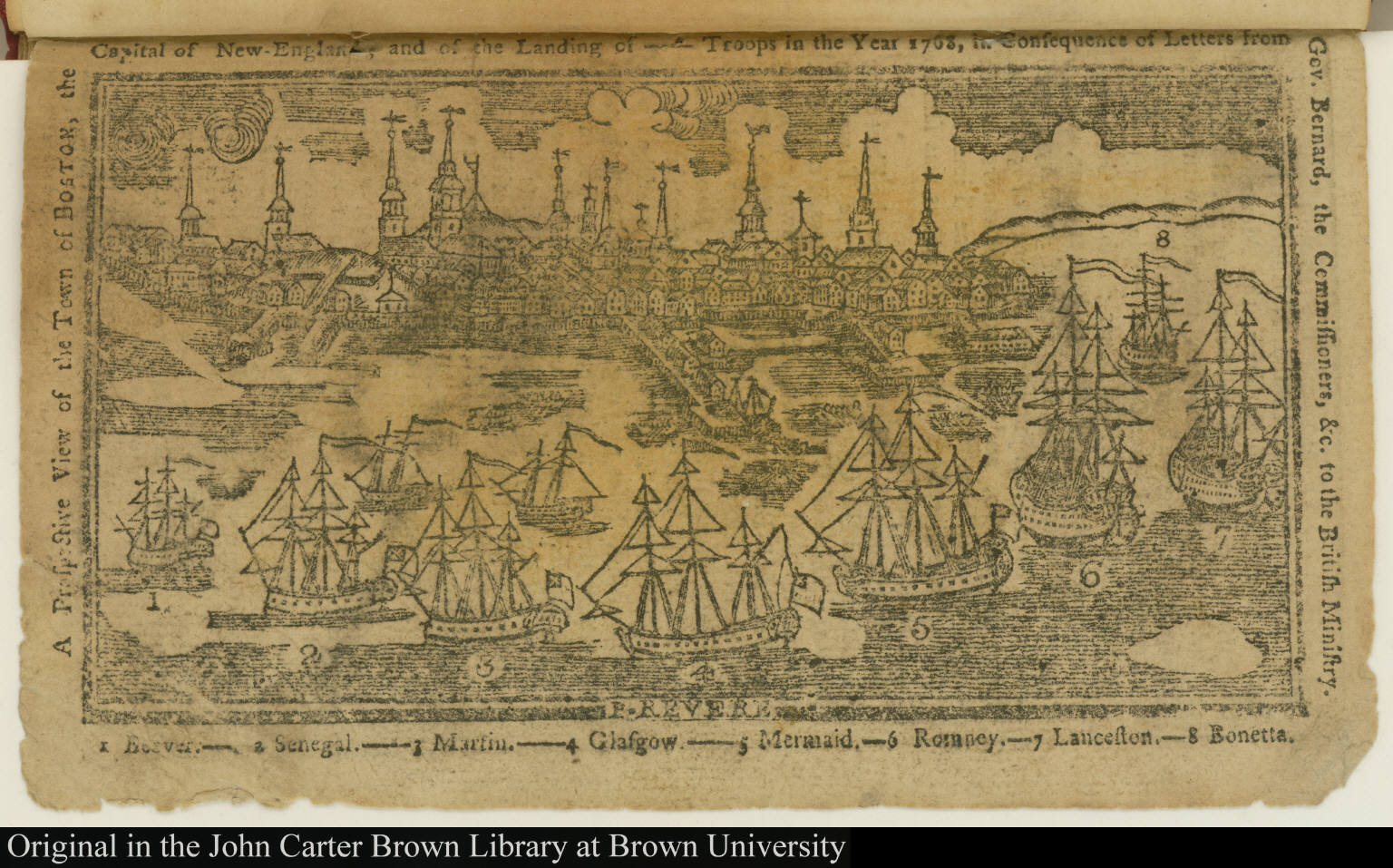 A Perspective View of the Town of Boston, the Capital of New-England, and of the Landing of --- Troops in the Year 1768 ...
