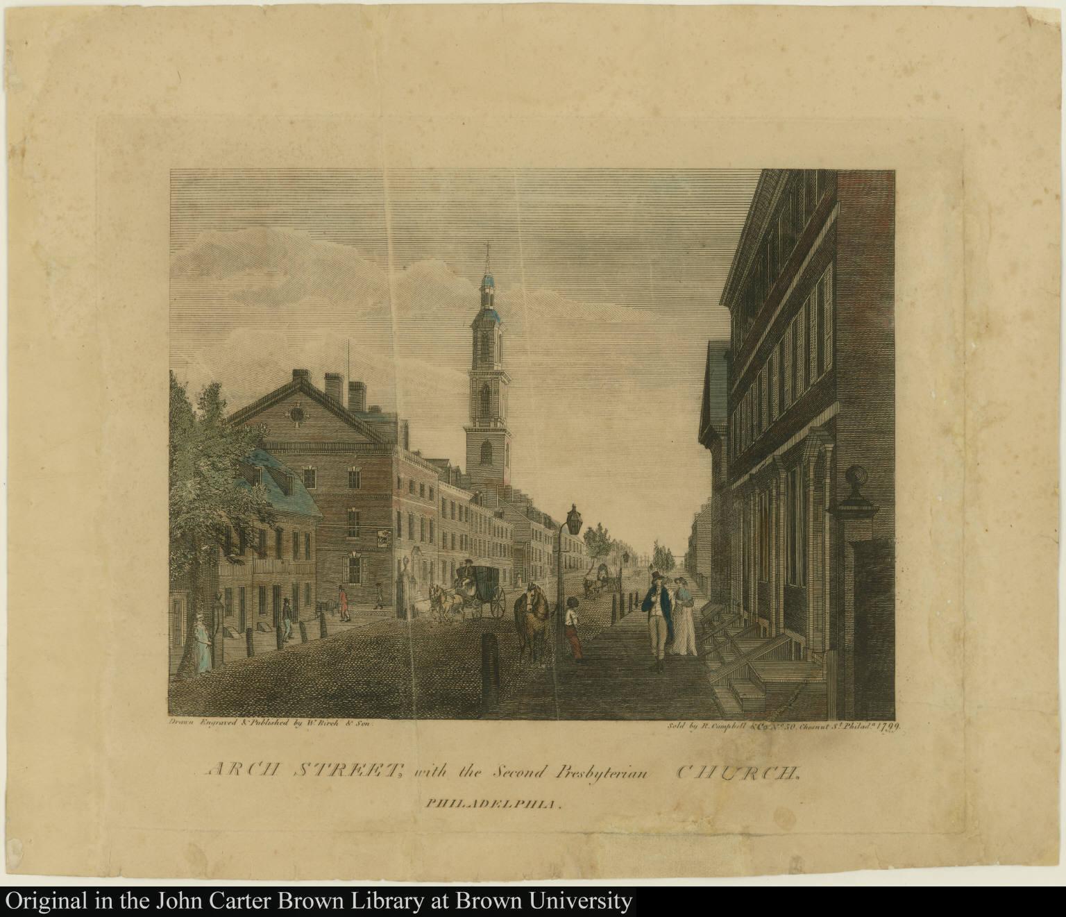 Arch Street, with the Second Presbyterian Church. Philadelphia