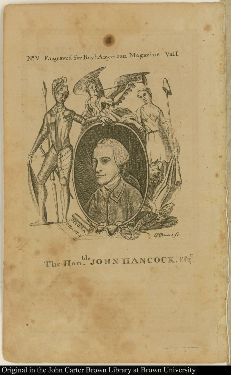 The Hon[ora]ble. John Hancock, Esqr.
