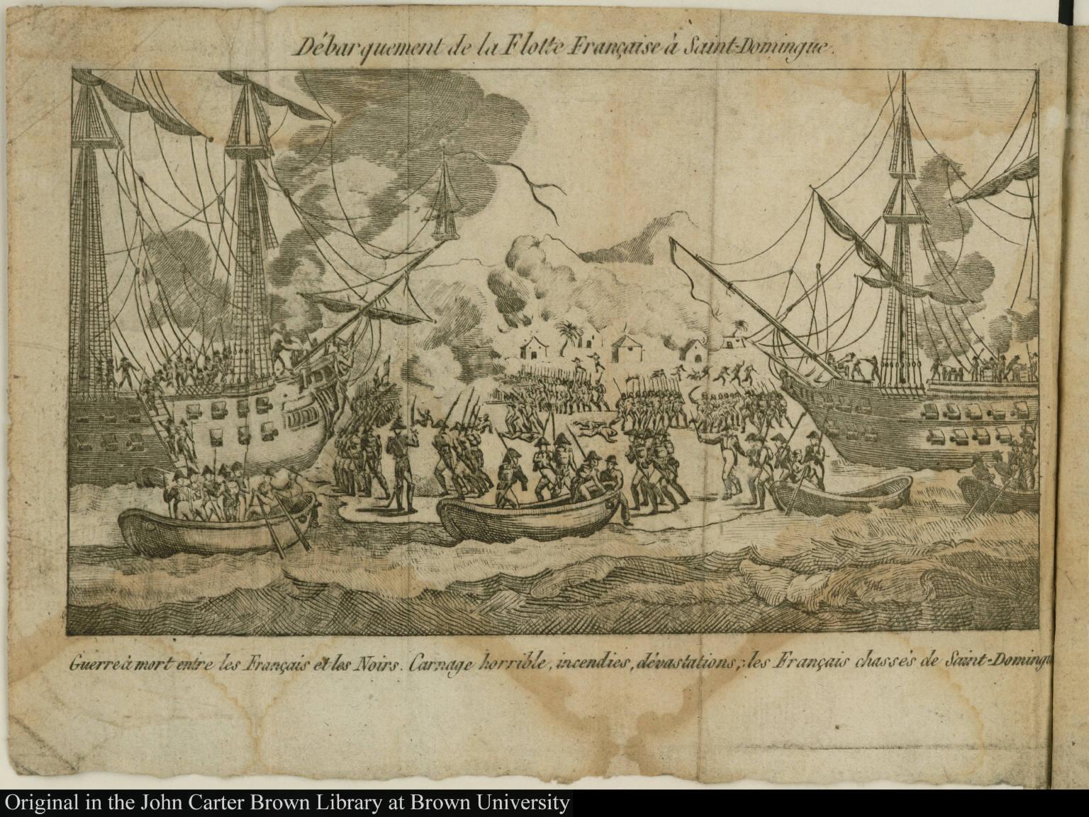 Débarquement de la Flotte Française à Saint-Domingue.