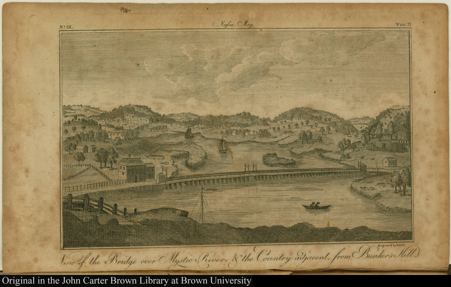 View of the Bridge over Mystic River, & the Country adjacent, from Bunker's Hill.