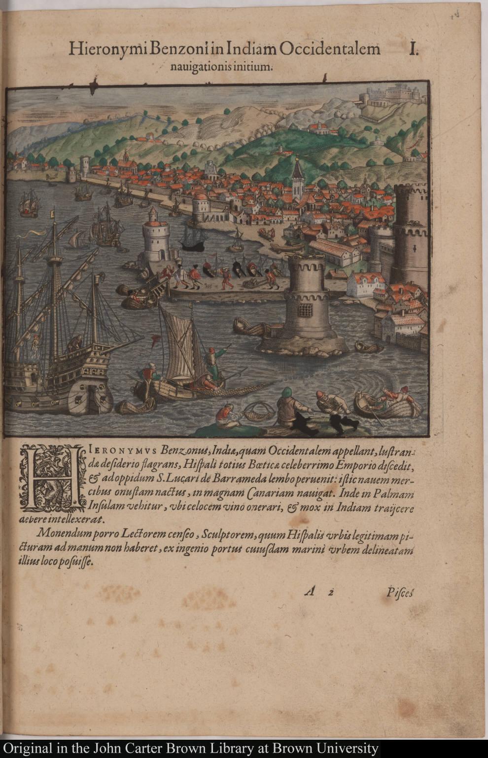 Hieronymi Benzoni in Indiam Occidentalem navigationis initium.