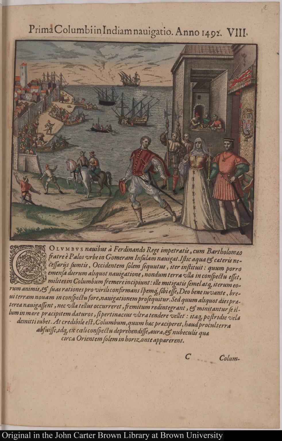 Prima Columbi in Indiam navigatio. Anno 1492.