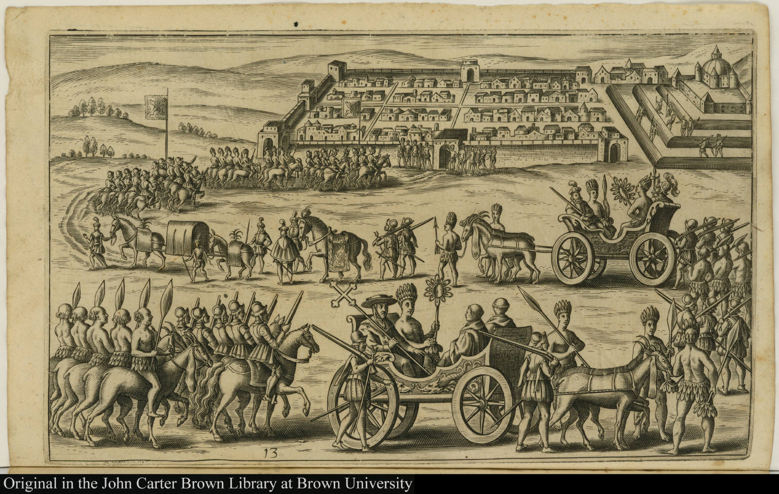 [View of Cuzco with royal carriage]