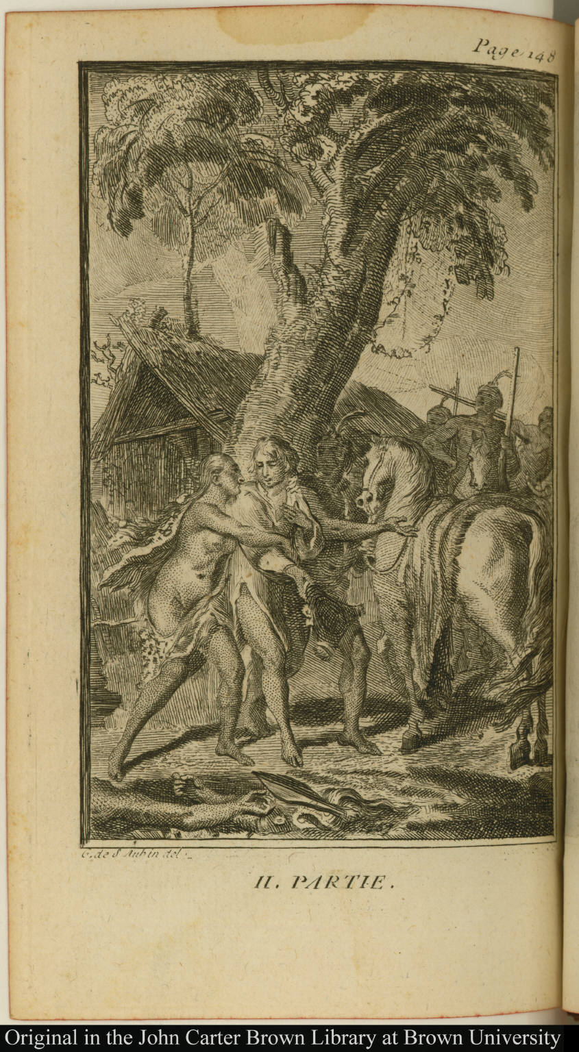 [European shown to his horse by a native American woman]