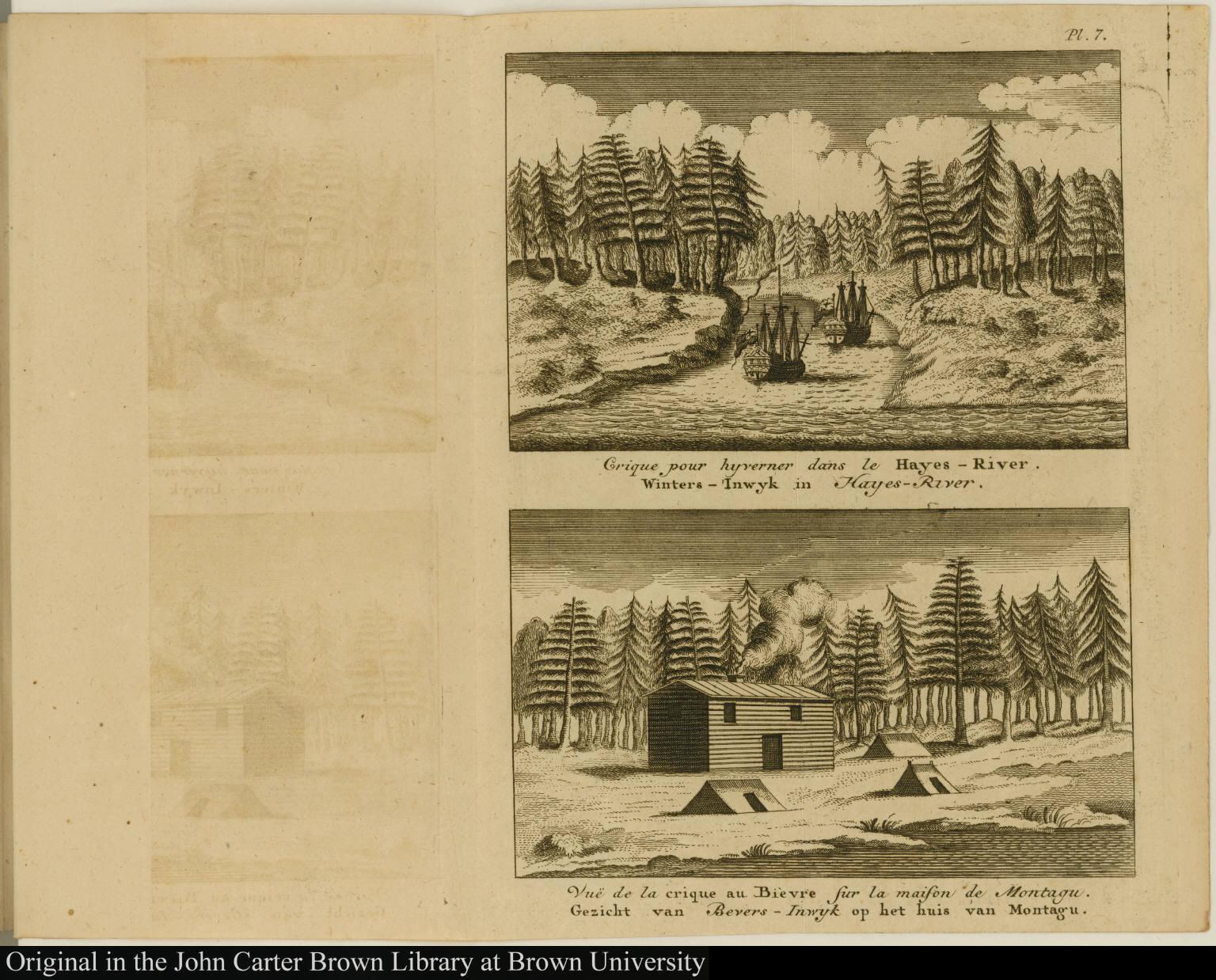 [top] Crique pour hyverner dans le Hayes-River. Winters-Inwyk in Hayes-River [bottom] Vuë de la crique au Bièvre sur la maison de Montagu. Gezicht van Bevers-Inwyk op het huis van Montagu.