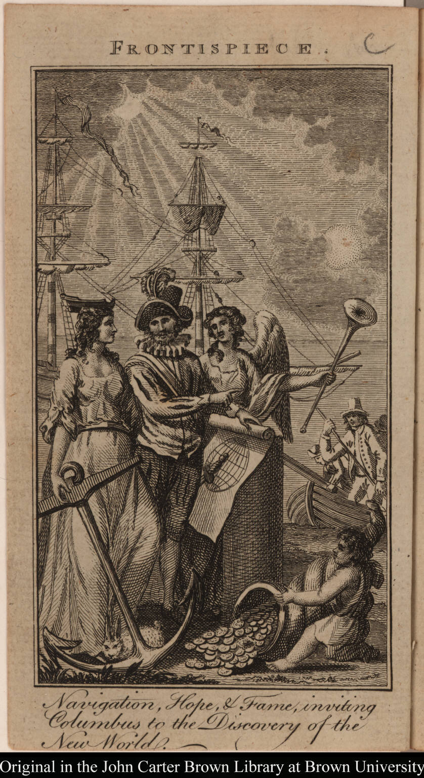 Navigation, Hope, & Fame, inviting Columbus to the Discovery of the New World.