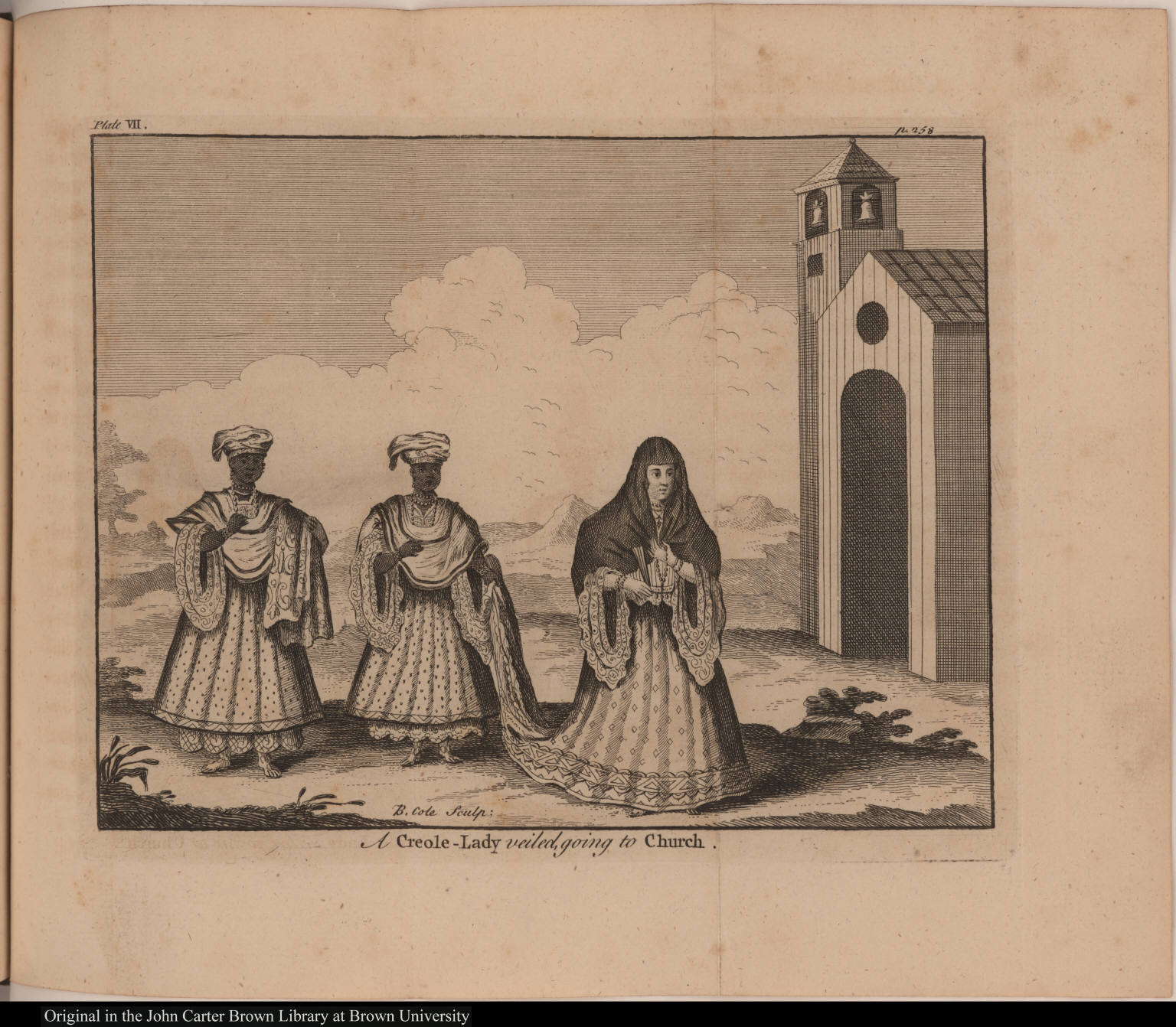 A Creole-Lady veiled, going to Church.