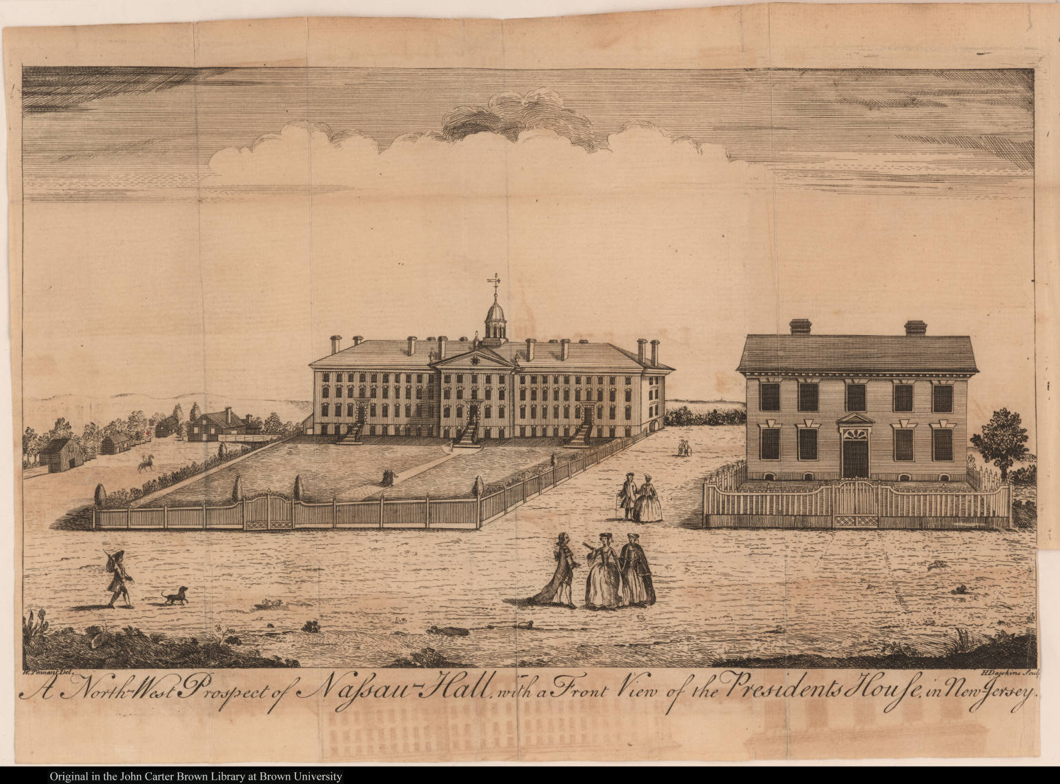 A North-West Prospect of Nassau-Hall, with a Front View of the Presidents House, in New-Jersey.