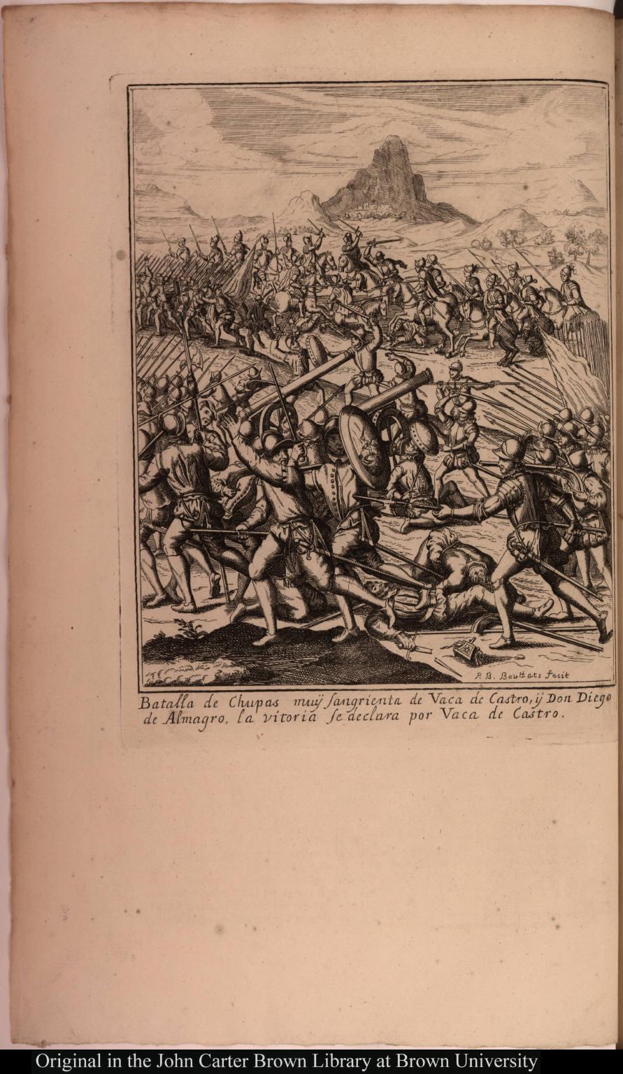 Batalla de Chupas muÿ sangrienta de Vaca de Castro, ÿ Don Diego de Almagro, la vitoria se declara por Vaca de Castro.