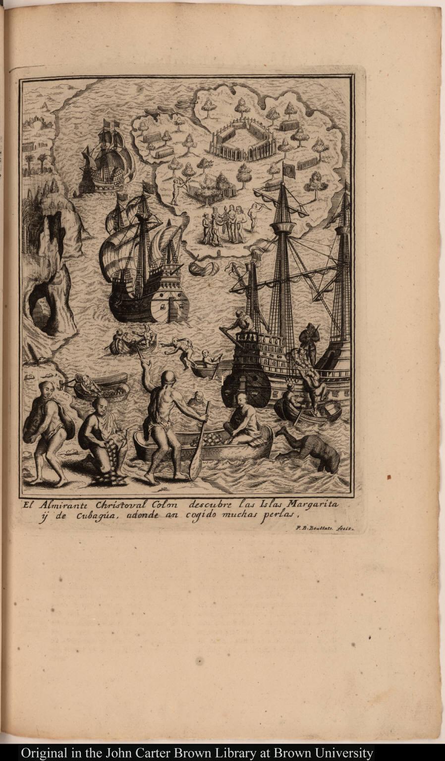 El Almirante Christoval Colon descubre las Islas Margarita ÿ de Cubagúa, adonde an cogido muchas perlas.
