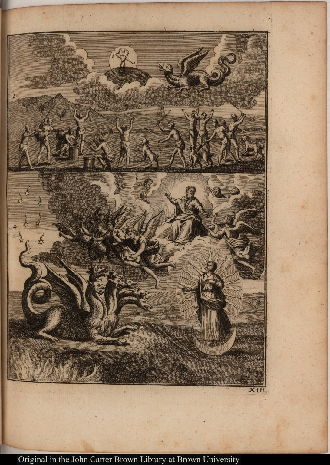 [(top) Native Americans worship during an eclipse of the sun. (bottom) A revelation from Jehovah]