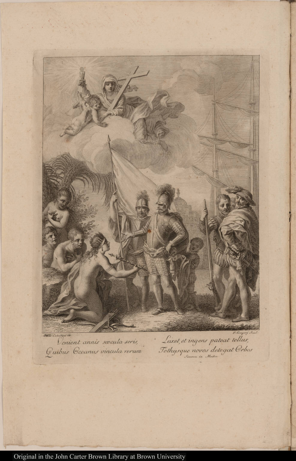 [America presents a scepter to European soldiers]