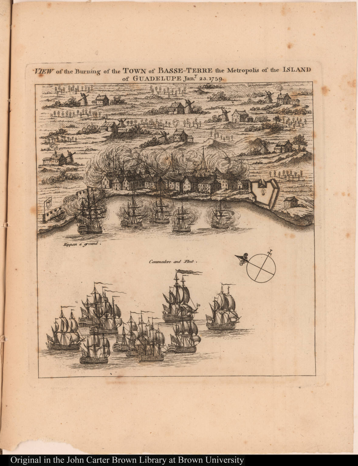 View of the Burning of the Town of Basse-Terre the Metropolis of the Island of Guadelupe Jany. 23, 1759.
