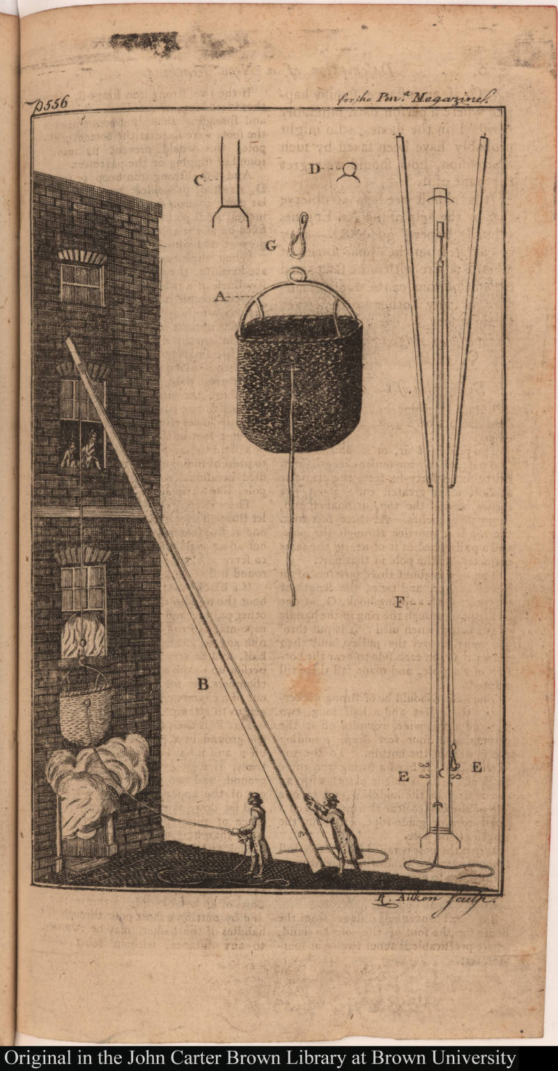 [ ... Description of a New Machine for enabling Persons to escape from the Windows of Houses on Fire.]