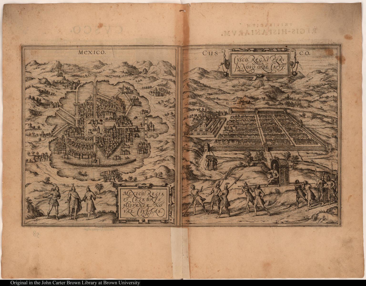 [left] Mexico, Regia & Celebris Hispaniae Novae Civitas. [right] Cusco, Regni Peru In Novo orbe Caput.