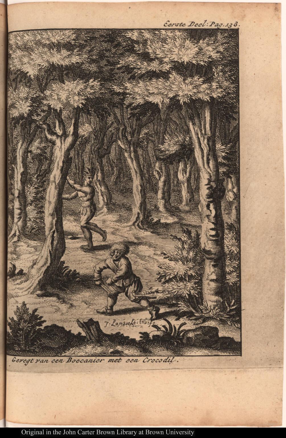 Geregt van een Boecanier met een Crocodil.