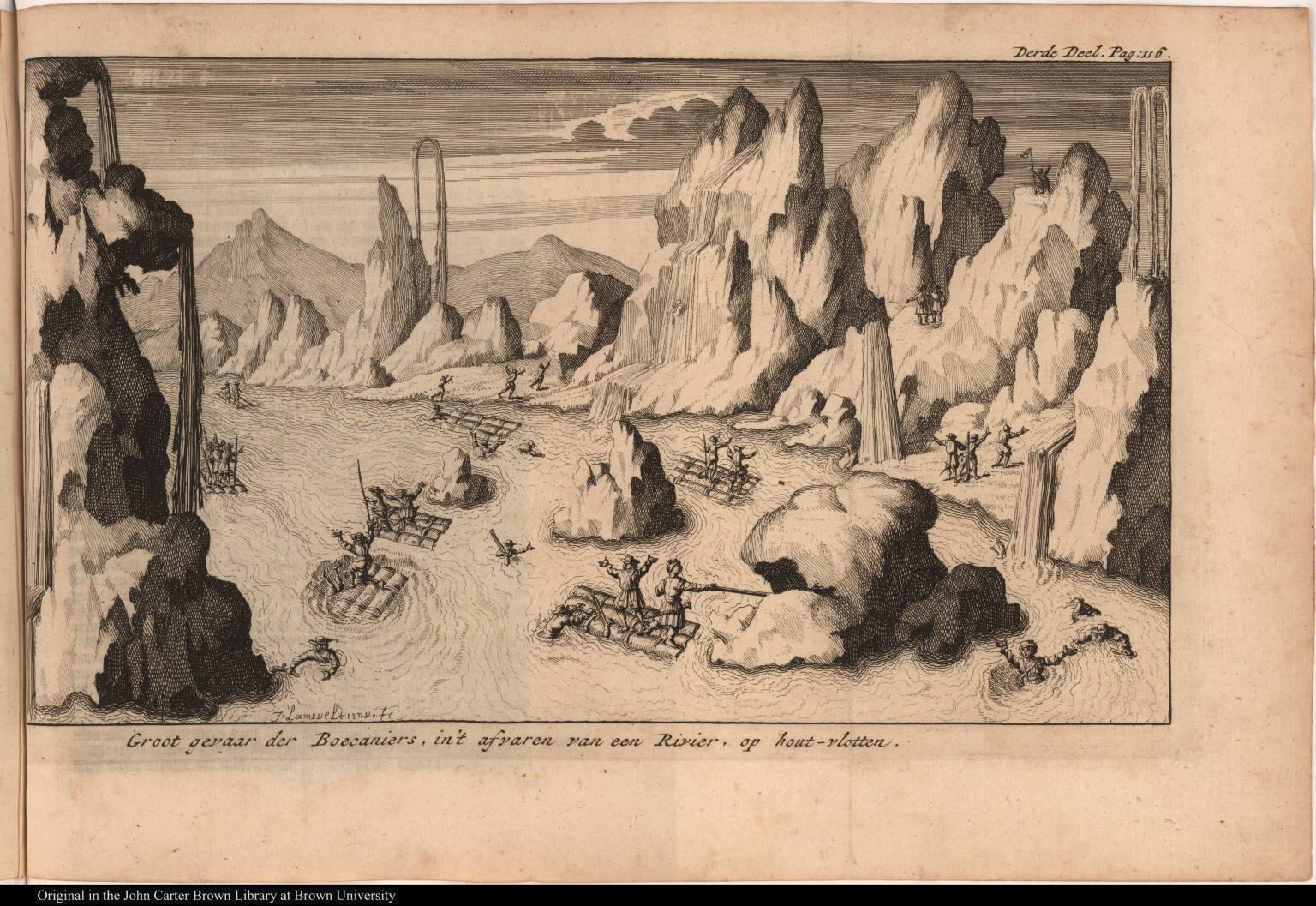 Groot gevaar der Boecaniers, in't afvaren van een Rivier, op hout-vlotten.