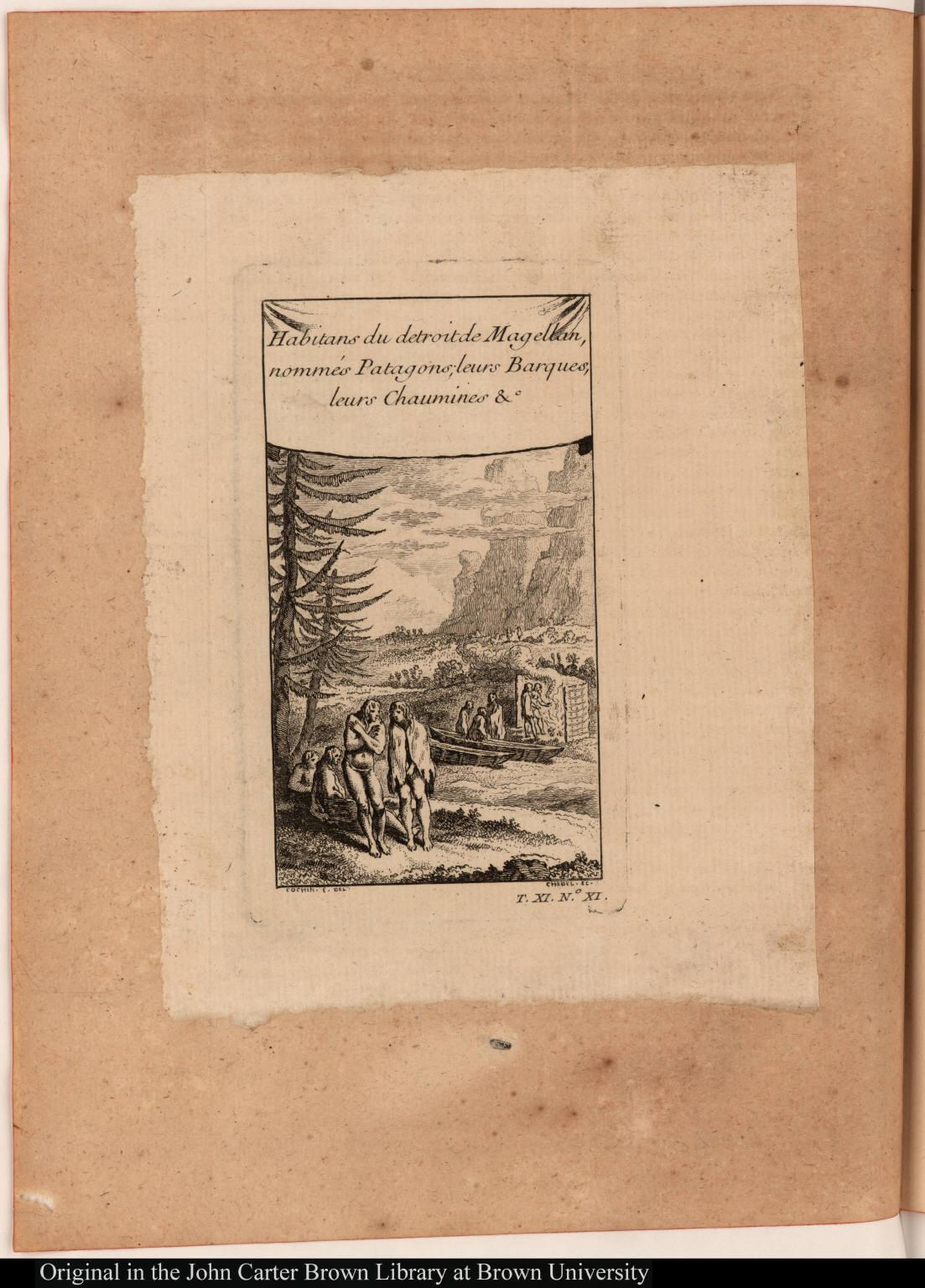 Habitans du detroit de Magellan, nommés Patagons; leurs Barques, leurs Chaumines &c