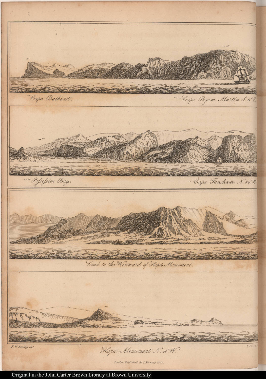[Views of Capes Bathurst, Byam Martin, and Fanshawe, Possession Bay, Hope's Monument and land west of Hope's Monument]