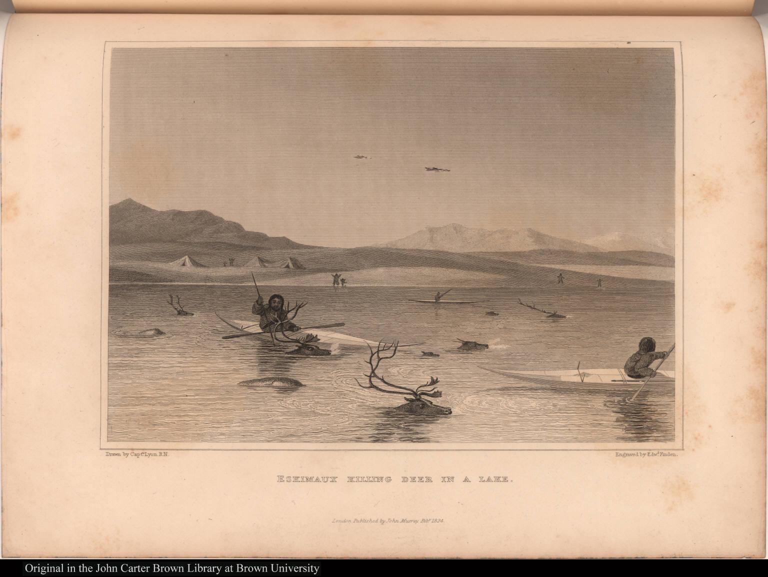 Eskimaux Killing Deer in a Lake.
