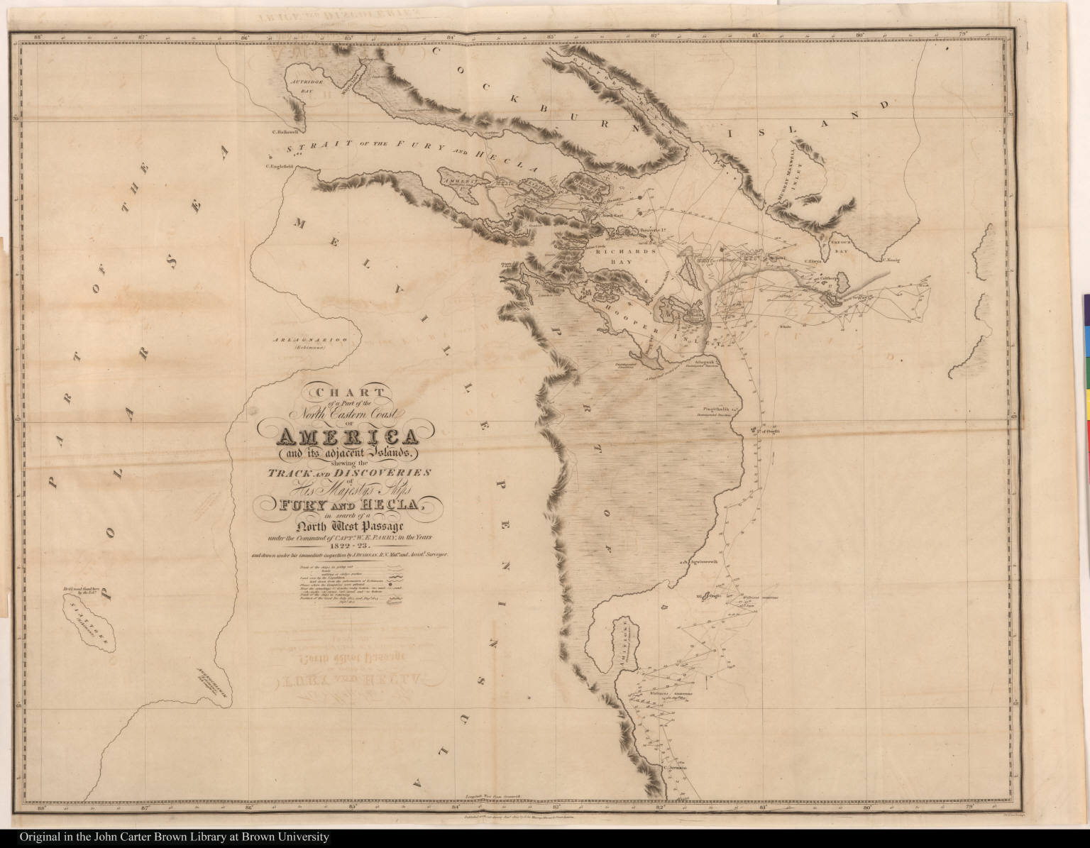 Chart of a Part of the North Eastern Coast of America and its adjacent Islands, shewing the Track and Discoveries of ... Fury and Hecla, in search of a North West Passage ... 1822-23.
