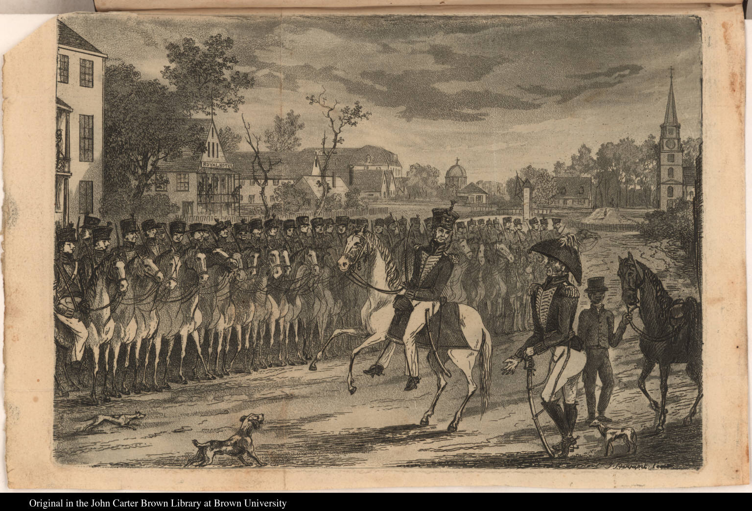 [The Demerara Troop of Cavalry, on the muster ground near to the Royal Hotel ...]