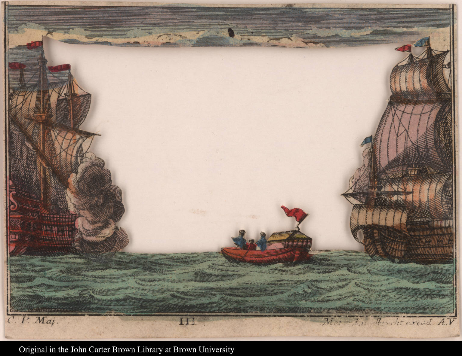 [Two galleons with small covered boat]