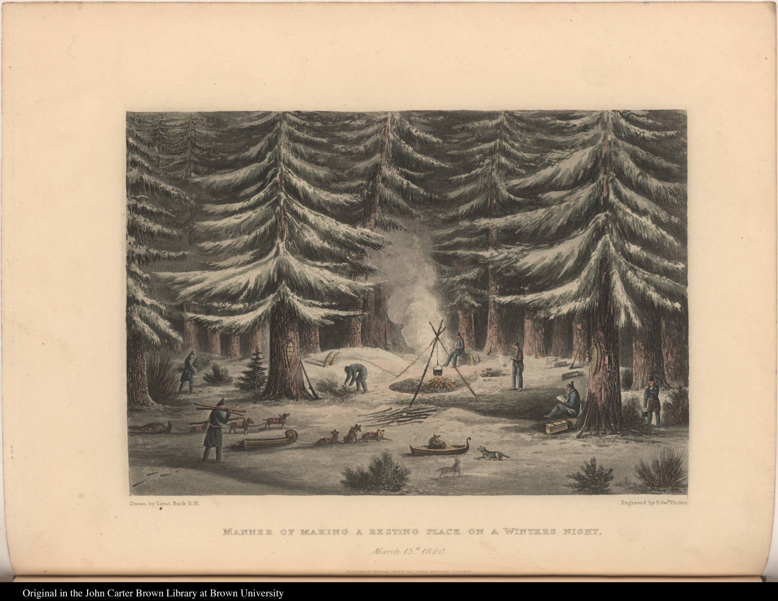 Manner of Making a Resting Place on a Winters Night. March 15th. 1820.