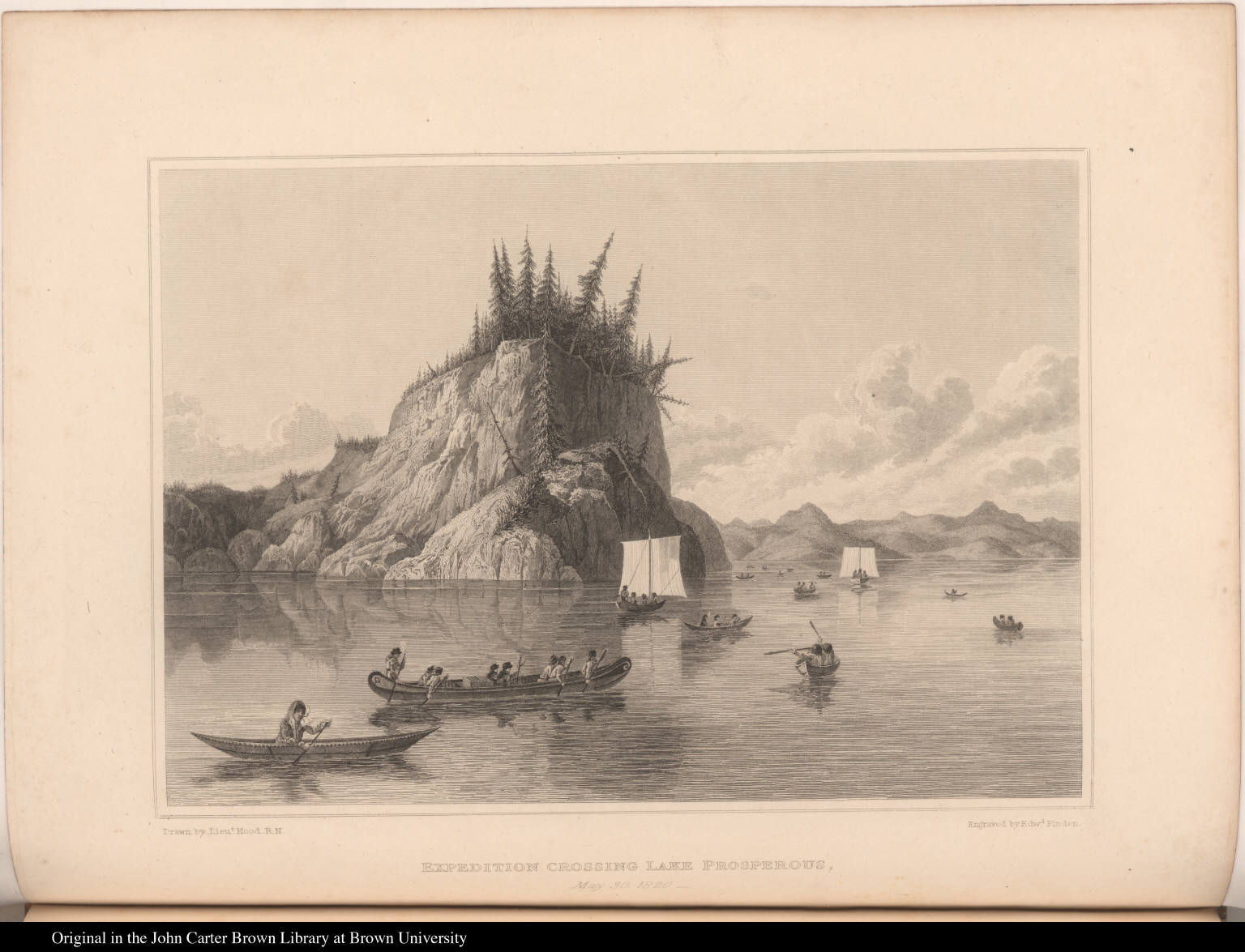 Expedition Crossing Lake Prosperous. May 30, 1820.