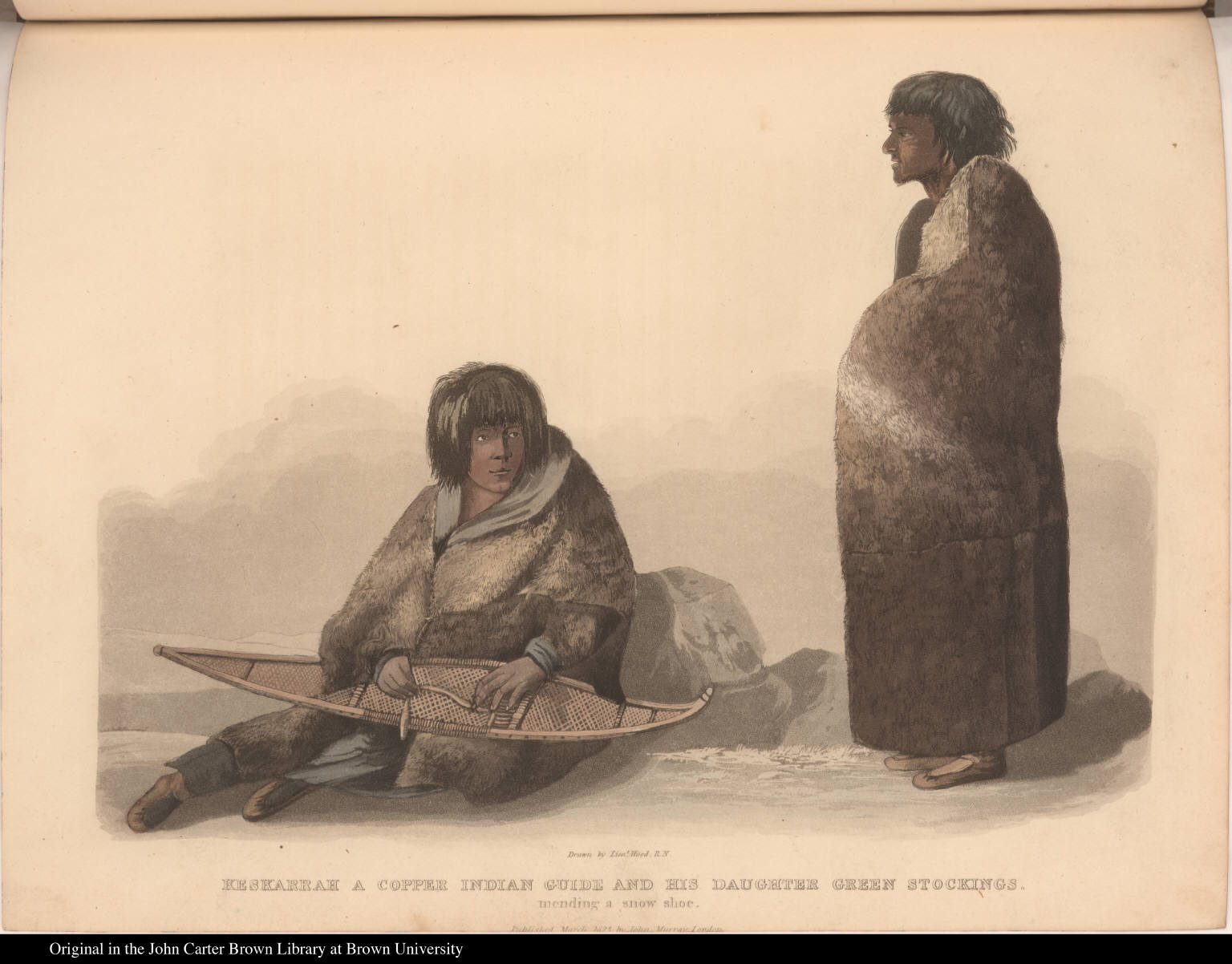 Keskarrah a Copper Indian Guide and his Daughter Green Stockings. mending a snow shoe.