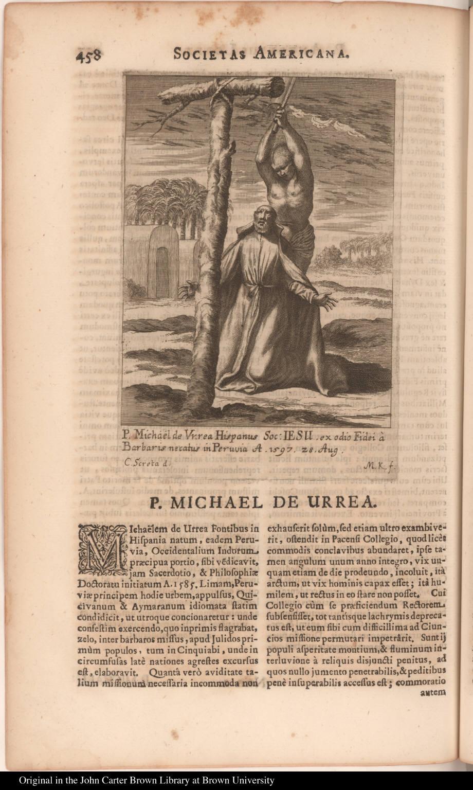P. Michael de Urrea Hispanus Soc: Iesu. ex odio Fidei à Barbaris necatus in Peruvia A. 1597. 28 Aug.