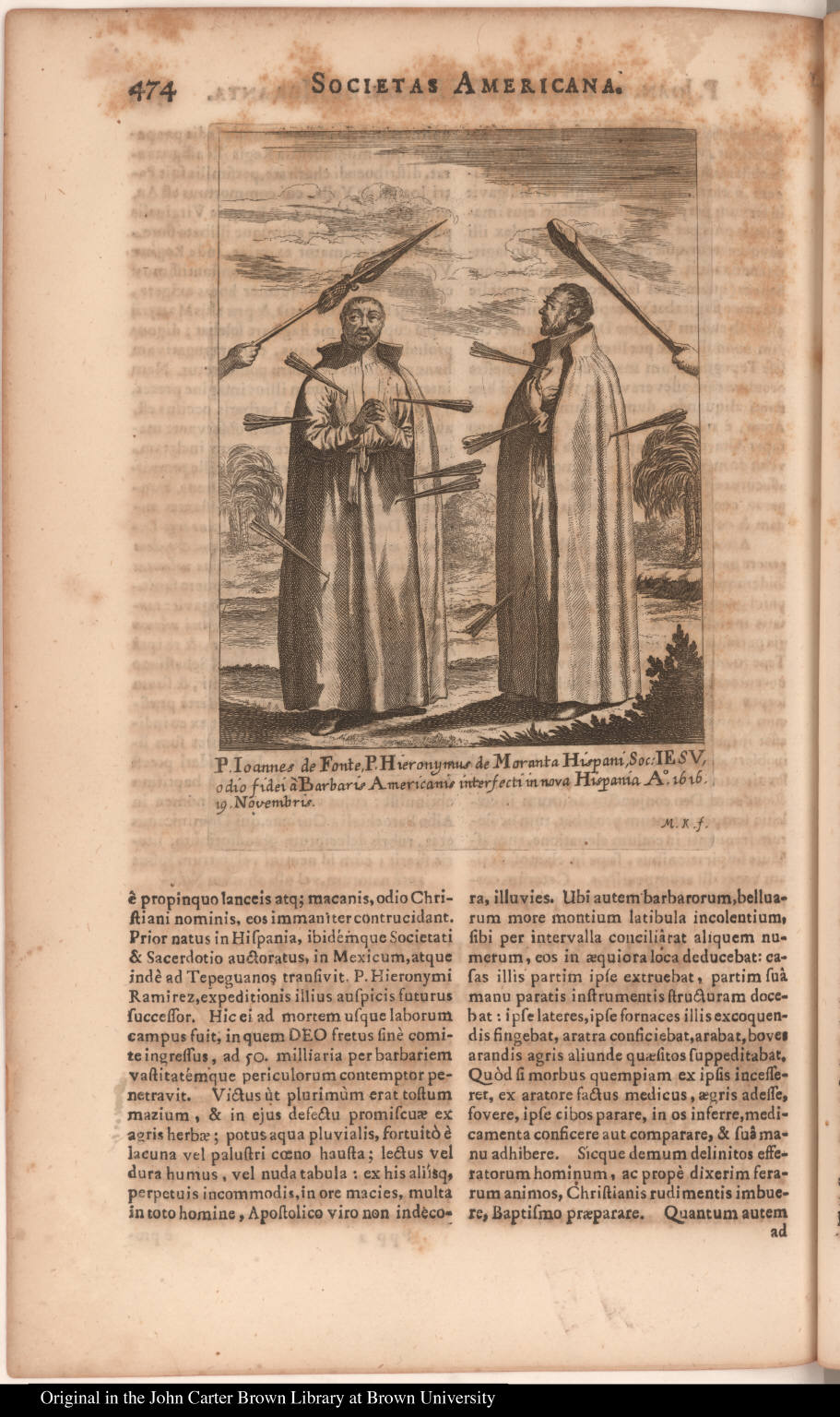 P. Ioannes de Fonte, P. Hieronymus de Moranta Hispani, Soc: Iesu, odio fidei à Barbaris Americanis interfecti in nova Hispania Ao. 1616. 19. Novembris.