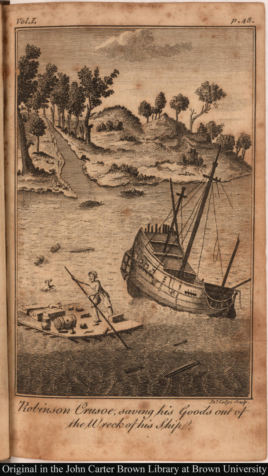 Robinson Crusoe, Saving his Goods out of the Wreck of his Ship.