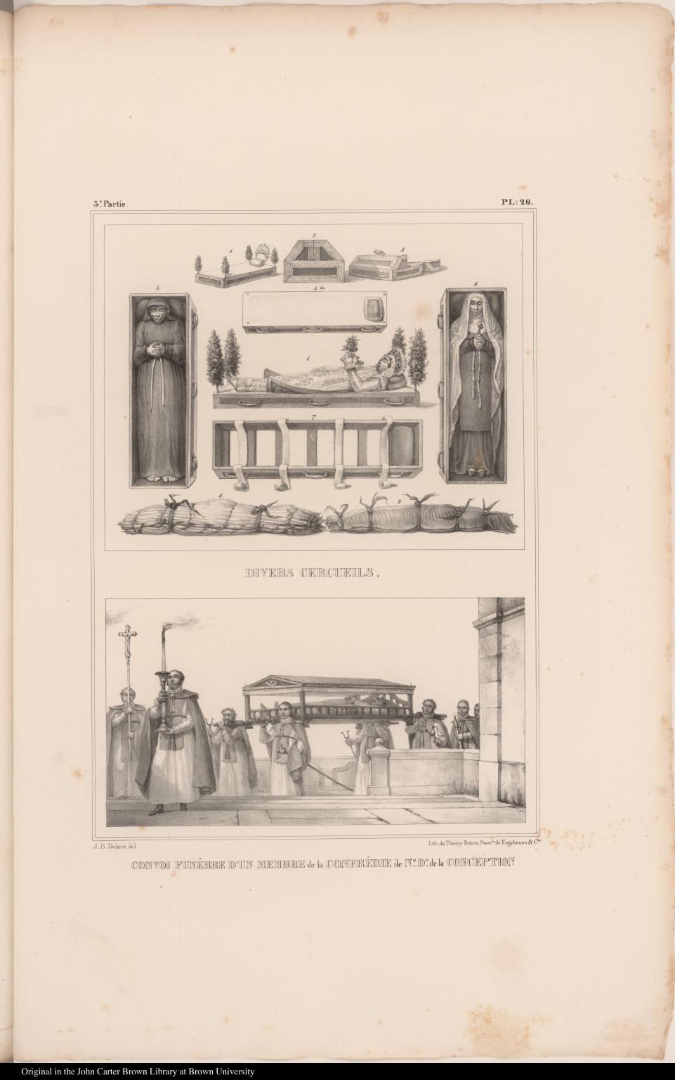 [top] Divers Cercueils. [bottom] Convoi Funèbre d'un Membre de la Confrérie de Ne. De. de la Conception