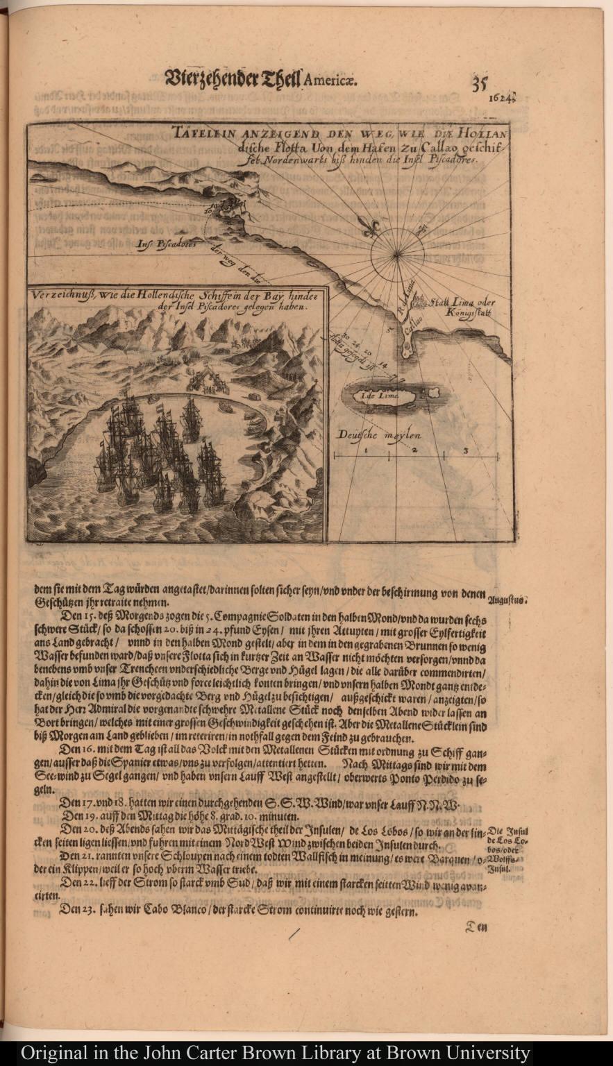 Täfelein anzeigend den weg, wie die Hollandische Flotta Von dem Hafen zu Callao geschiffet Nordenwarts biss hinden die Insel Piscadores.