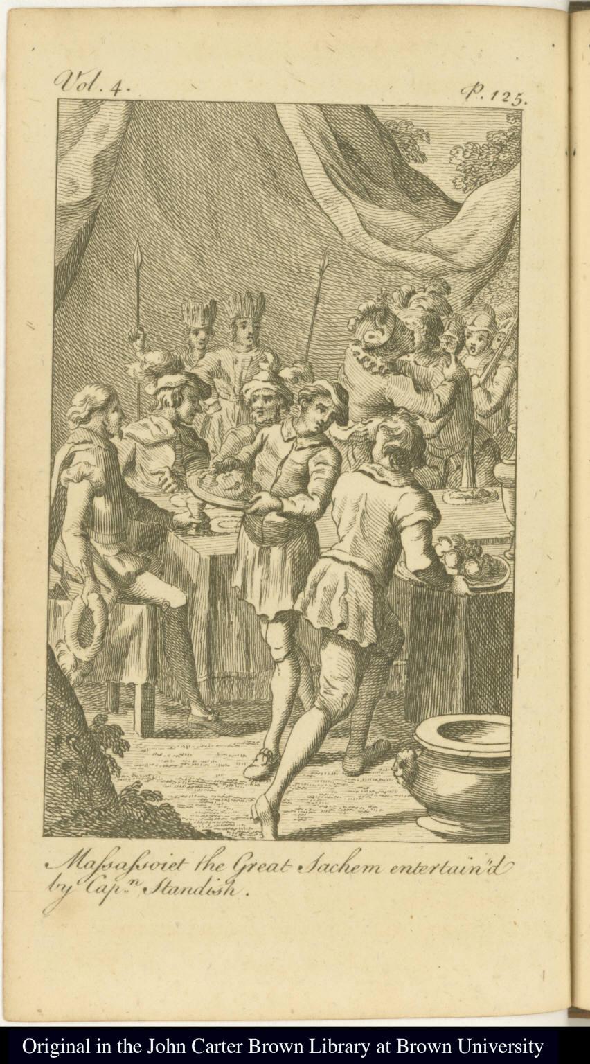 Massassoiet the Great Sachem entertain'd by Capn. Standish.