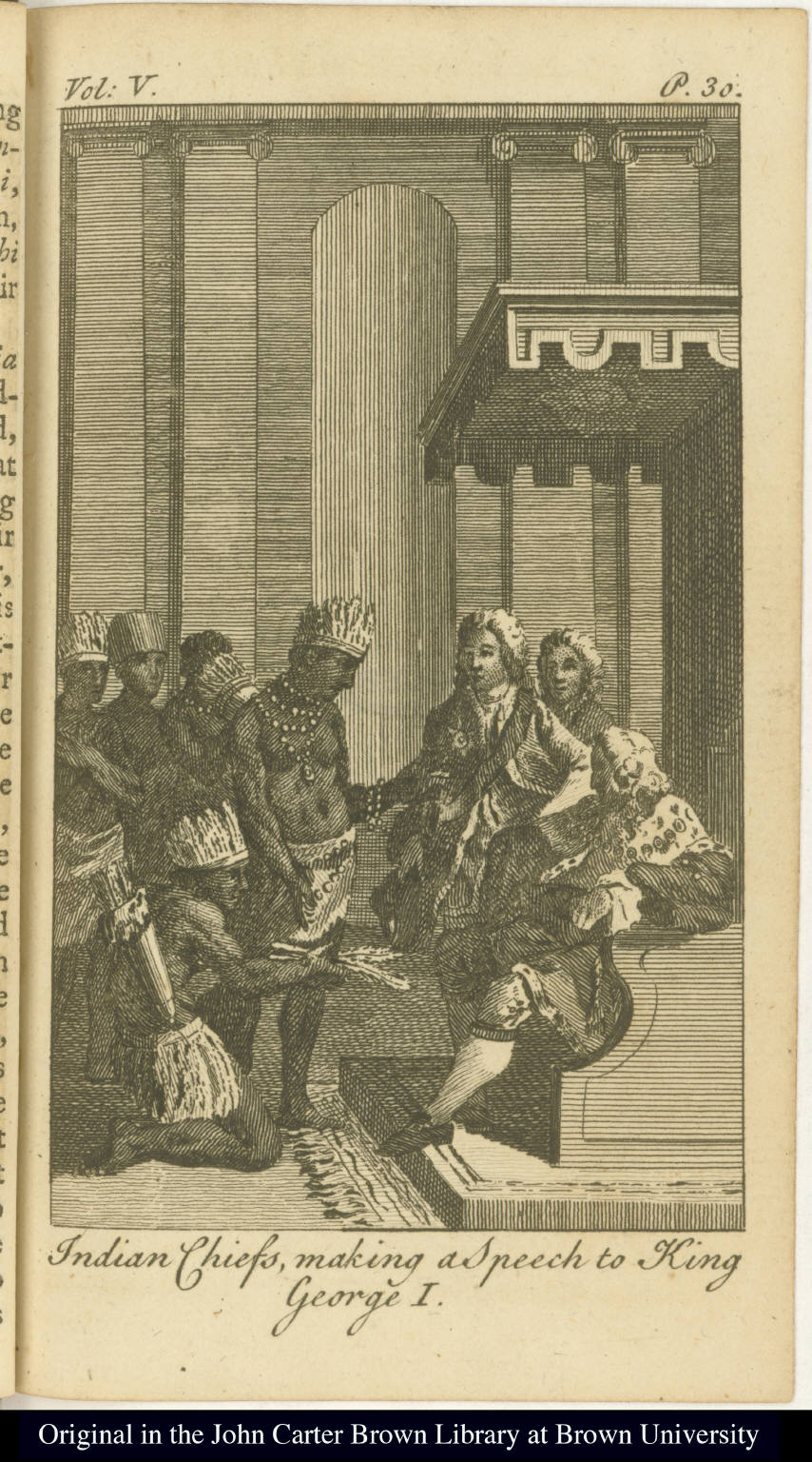 Indian Chiefs, making a Speech to King George I.