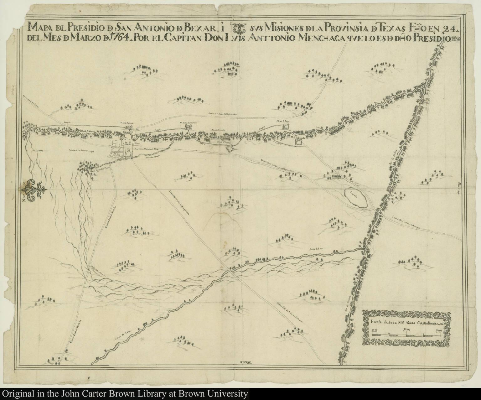 Mapa d[e]l Presidio d[e] San Antonio d[e] Bexar, i sus Misiones d[e]la Provinsia d[e] Texas ...