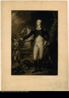 Gen. Washington [on the battle field at Trenton] Engraved by W. Warner from the original picture by Col. John Trumbull in possession of Yale College N. Haven