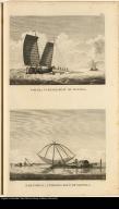 [top] Parao, a passage boat of Manilla. [bottom] Sarambeau, a fishing raft of Manilla