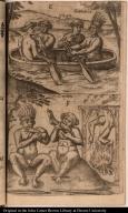 [La Figure E. F. Formes des cannoes ou batteaux des Caripous & autres Indiens. Comment les Caribes boucanent & mangent la chair de leurs enemies.]