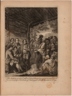 The Indians giving a Talk to Colonel Bouquet in a Conference at a Council Fire, near his Camp on the Banks of the Muskingum in North America, in Octr. 1761
