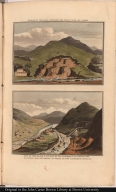 [top] Break in the hill, shewing the topaz mine at Capon. [bottom] Bed of the river laid dry by an acqueduct, to collect the alluvial soil, in order to wash it for diamonds, gold, &c.