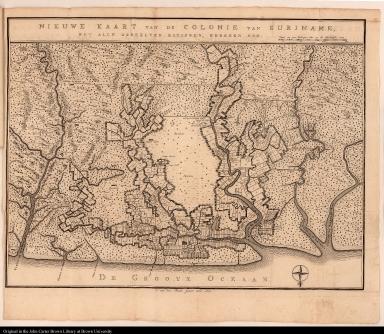 Nieuwe kaart van de colonie van Suriname, met alle derzelver rivieren, kreeken enz.