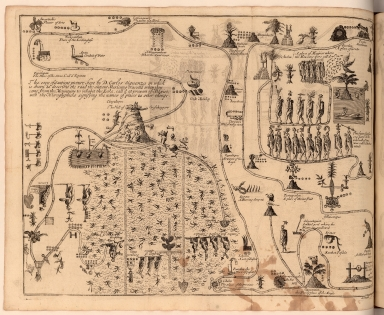 The copy of a[n] antient picture kept by D. Carlos Siguenza in which is drawn & describ'd the road the antient Mexicans travell'd ... to ... Mexico ...